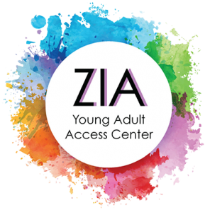 Zia logo of a white circle with rainbow splatter effect around the border